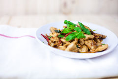 Spicy Thai basil chicken ready to eat on traditional plate. (Shallow aperture intended for  the aesthetic quality of the blur Royalty Free Stock Photography