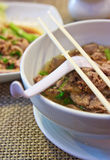 Spicy thai chinese beef noodle Stock Photos