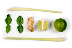 Spicy Thai food ingredients  lime,ginger, kaffir ,lemongrass isolated on white Royalty Free Stock Images