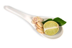 Spicy Thai food ingredients  lime,ginger, kaffir ,lemongrass in spoon isolated on white Royalty Free Stock Photos