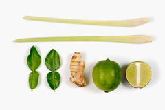 Spicy Thai food ingredients  lime,ginger, kaffir ,lemongrass  on white Royalty Free Stock Photography