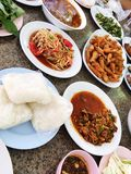Spicy Thai food on table. stock images