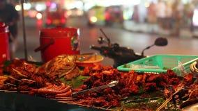 Spicy Thai foods on street stock video