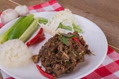 Spicy Thai minced beef salad with sticky rice Stock Photos