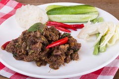 Spicy Thai minced beef salad with sticky rice Royalty Free Stock Photography