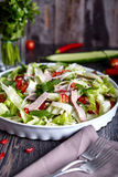 Spicy thai salad with beef and green herbs Royalty Free Stock Photo
