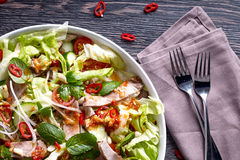 Spicy thai salad with beef and green herbs Royalty Free Stock Images