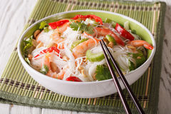 Spicy Thai salad yam woon sen with seafood close up. horizontal Stock Photography