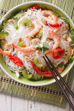 Spicy Thai salad yam woon sen with seafood close up. vertical to Royalty Free Stock Photography