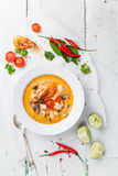 Spicy Thai soup Tom Yam Royalty Free Stock Image