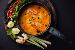 Spicy Thai soup Tom Yam Stock Photos
