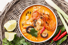 Spicy Thai soup Tom Yam Royalty Free Stock Photography