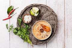 Spicy Thai soup Tom Yam Stock Photo