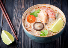 Spicy Thai soup Tom Yam Kung. Royalty Free Stock Images