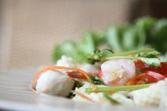 Spicy Thai style salad. In close up stock photos