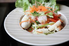 Spicy Thai style salad. On a plate stock images