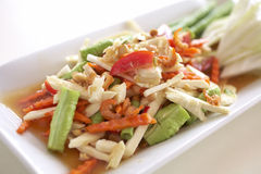 Spicy thaifood from vegetable. Spicy coconut and carrot salad with herb Stock Photo
