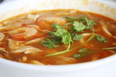 Spicy thomyam soup Royalty Free Stock Photography
