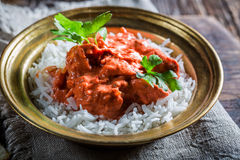 Spicy tikka masala with rice and chicken Stock Photo