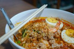 Thai spicy noodles soup royalty free stock photos
