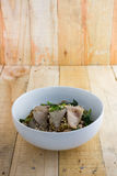 Spicy tom yom noodle with pork thai style Stock Photos