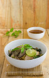 Spicy tom yom noodle with pork thai style Royalty Free Stock Image