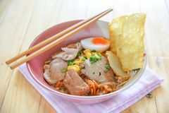 Spicy tom yum noodle with pork. Thai food royalty free stock photos