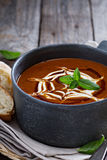 Spicy tomato cream soup with bread Royalty Free Stock Photography