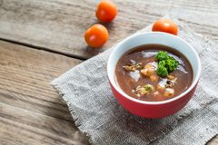 Spicy tomato soup with seafood Royalty Free Stock Photo