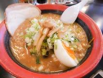Spicy Tonkatsu Ramen of Hakodate, Hokkaido, Japan. Ramen with bo