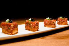 Spicy tuna on crispy rice stock photography