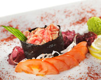 Spicy Tuna Gunkan Sushi Stock Photo