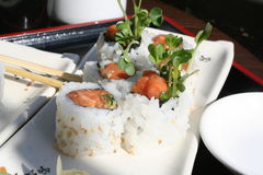 Spicy Tuna Hand Rolls. Close up of Spicy Tuna rolls served with Ginger and Wasabi Royalty Free Stock Photos