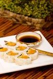 Spicy tuna rolls sushi. Plate of spicy tuna rolls Royalty Free Stock Photos