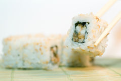 Spicy tuna sushi roll Stock Photos