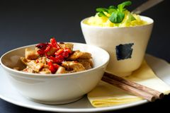 Spicy turkey meat, saffron rice, asian food. royalty free stock photography