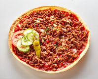 Spicy Turkish Lahmacun pizza with ground beef royalty free stock image