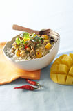 Spicy veal sauteed with mango on white bowl with dried chili. Deliciously royalty free stock photo