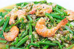 Spicy vegetable fern salad with shrimps Royalty Free Stock Images