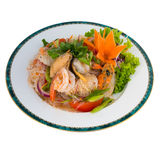 Spicy Vermicelli Salad With Seafood (Yum Woon Sen Talay) isolate Stock Photography