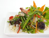 Spicy Water Spinach and seafood salad Royalty Free Stock Photo