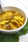 Spicy yellow fish curry. And green leaf Stock Photography