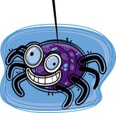 Spider. A purple spider hanging from a thread Stock Photography