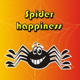 Spider. Happiness. In the background is a  web vector illustration