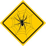 Spider. Warning Plate of a Spider Royalty Free Stock Photo