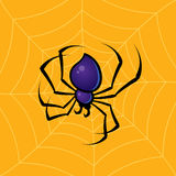 Spider. Vector drawing of a spider with a web background vector illustration