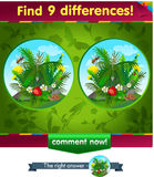 Spider, bee 9 differences. Visual game for children and adults. Task to find 9 differences in the summer illustration  with  forest insects Royalty Free Stock Image