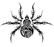 Spider. Black and white spider in tattoo design Royalty Free Stock Images