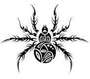 Spider. Black and white spider in tattoo design stock illustration