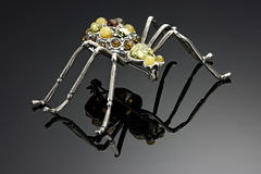 Spider brooch with amber Stock Photo